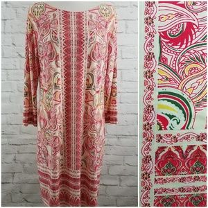 Haani Shift Dress Cream Pink Paisley Print Party